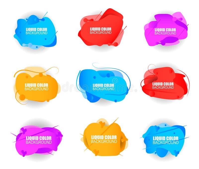 Reeks plastic vloeibare gradiëntgolven royalty-vrije illustratie