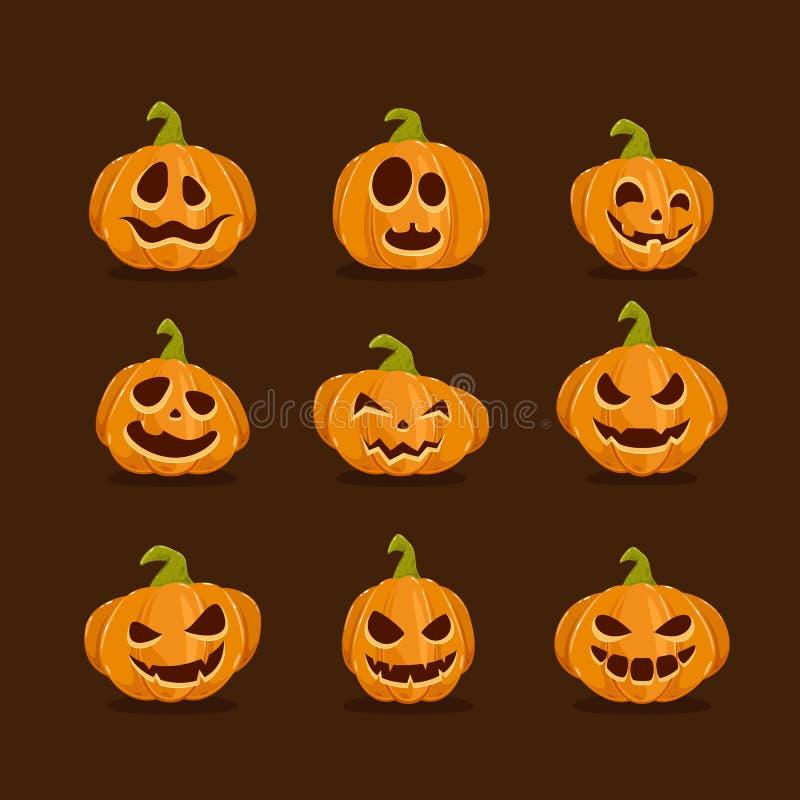 Reeks Pompoenen voor Halloween op donkere achtergrond stock illustratie