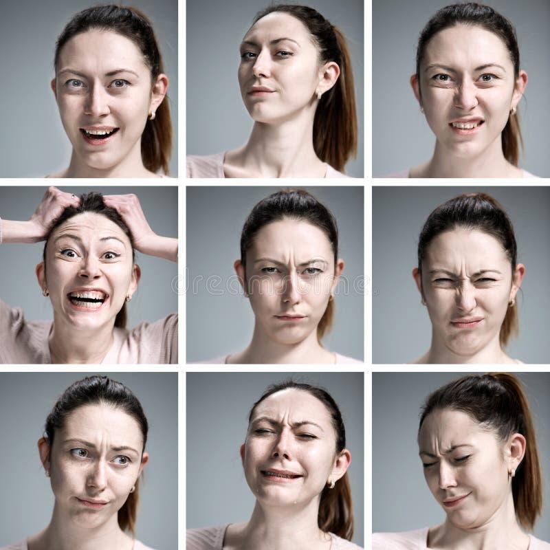 Reeks portretten van de jonge vrouw met verschillende emoties royalty-vrije stock foto