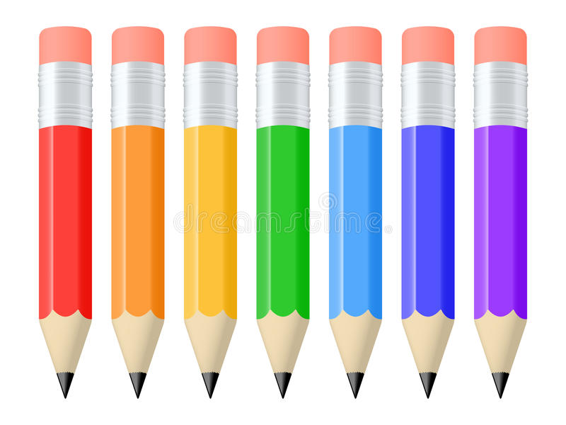 Reeks potloden stock illustratie