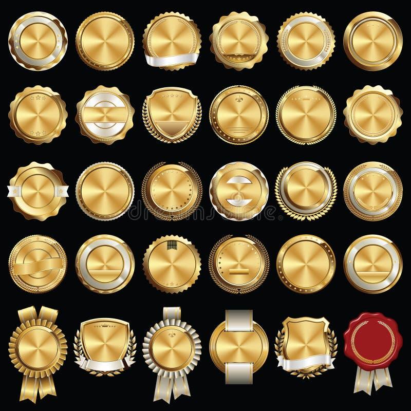 Reeks Premie Gouden Kentekens vector illustratie