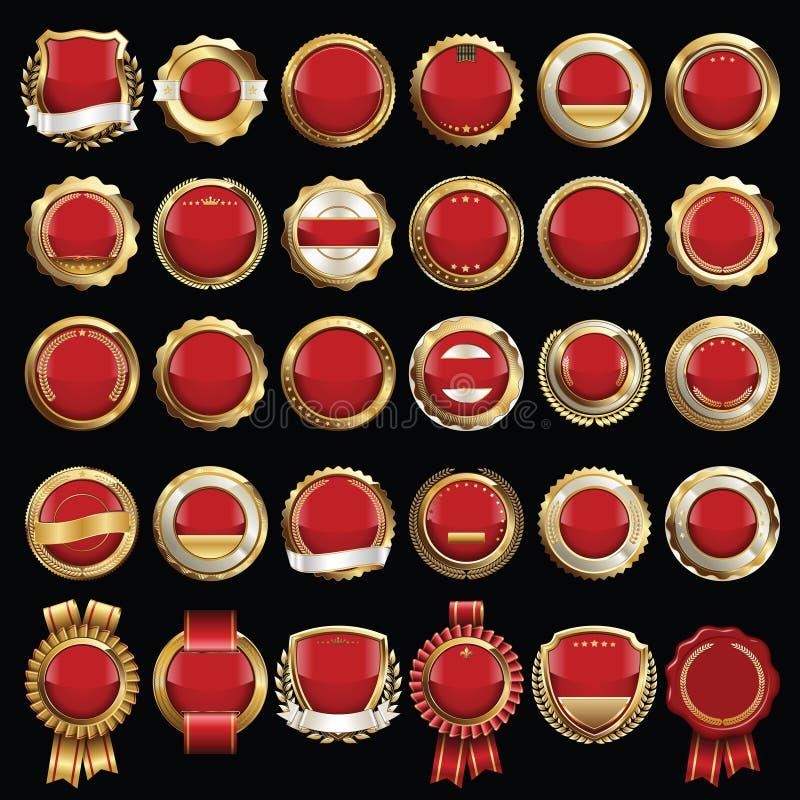 Reeks Premie Gouden Rode Kentekens stock illustratie