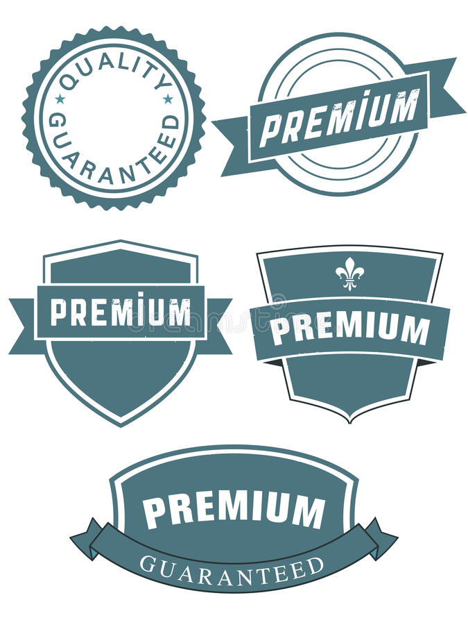 Reeks premieverbindingen of etiketten royalty-vrije illustratie