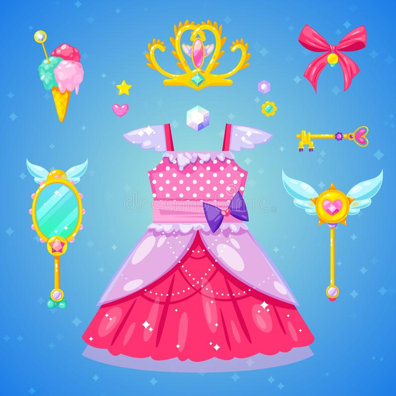 Reeks prinsestoebehoren royalty-vrije stock foto