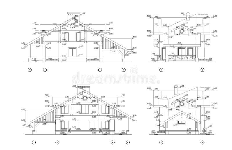 Reeks privé huisvoorgevels, gedetailleerde architecturale technische tekening, vectorblauwdruk stock illustratie