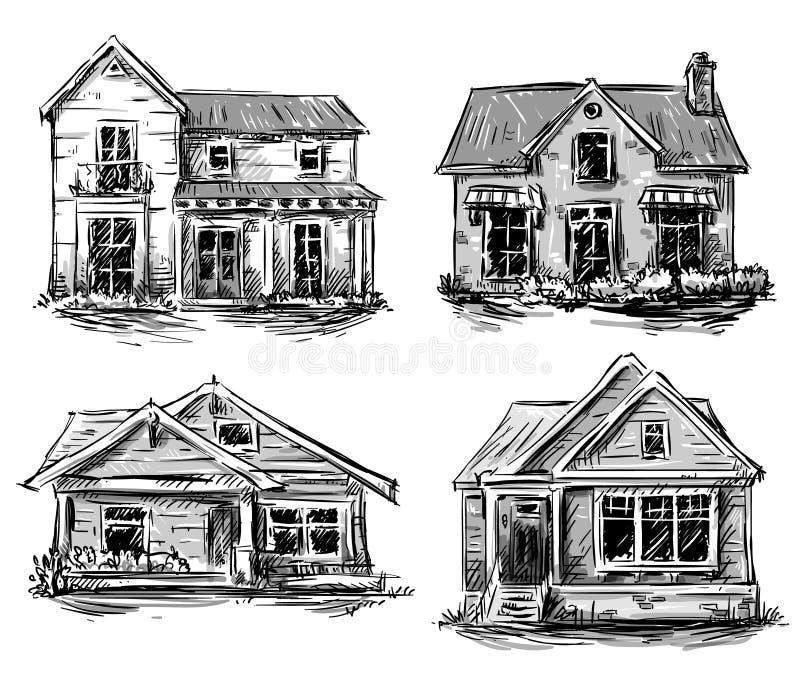 Reeks privé huizen, vectorillustratie royalty-vrije illustratie
