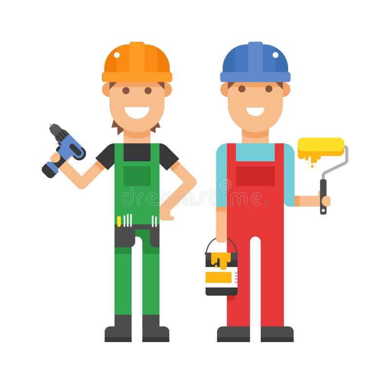 Reeks professionele mensen die van techniekarbeiders team in de vlakke vectorillustratie van helmenbouwers bouwen stock illustratie