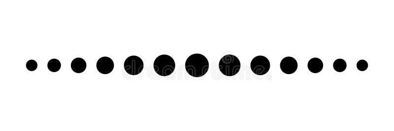 Reeks Punten Halftone effect Vector van de gestippelde lijn de eenvoudige vorm stock illustratie