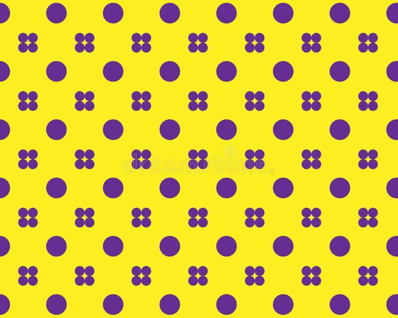 Reeks purpere cirkels in een symmetrisch patroon op een gele achtergrond stock illustratie