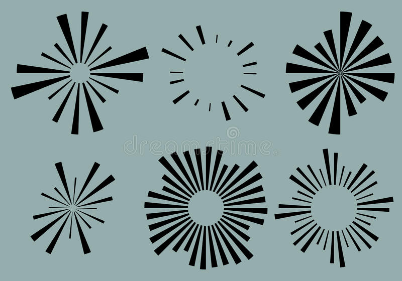 Reeks 6 radiale lijnen, stralen, stralenelementen Diverse starburst, zon royalty-vrije illustratie