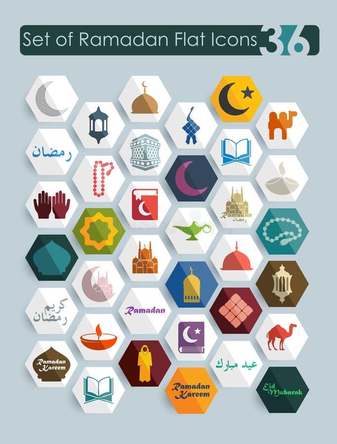 Reeks ramadan vlakke pictogrammen
