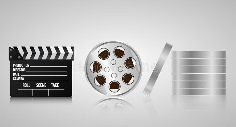 Reeks realistische 3d voorwerpen voor cinematografie stock illustratie