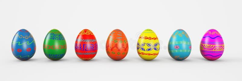 Reeks realistische eieren op witte achtergrond 3d teruggevende illustratie royalty-vrije illustratie