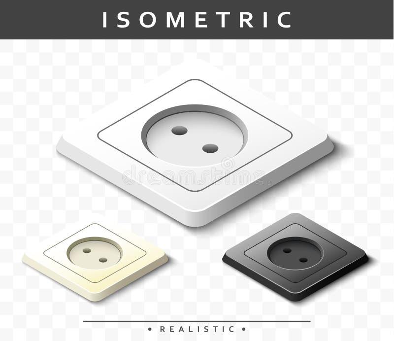Reeks realistische elektrische afzet in isometrische mening Geïsoleerde contactdozen vector illustratie