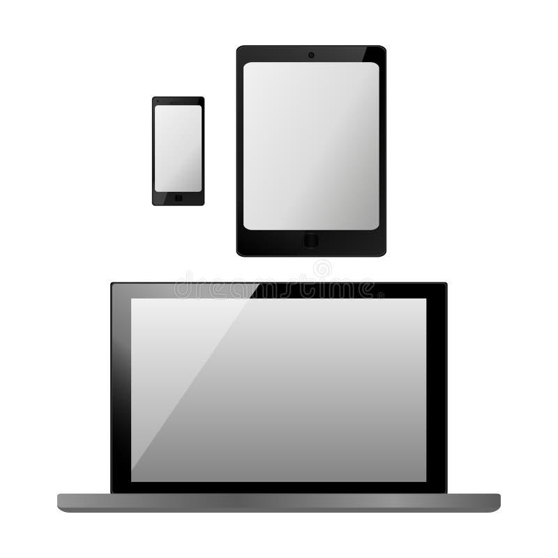 Reeks realistische elektronische technologieapparaten met het lege witte scherm Laptop, tablet, mobiele telefoon, smartphone mode vector illustratie