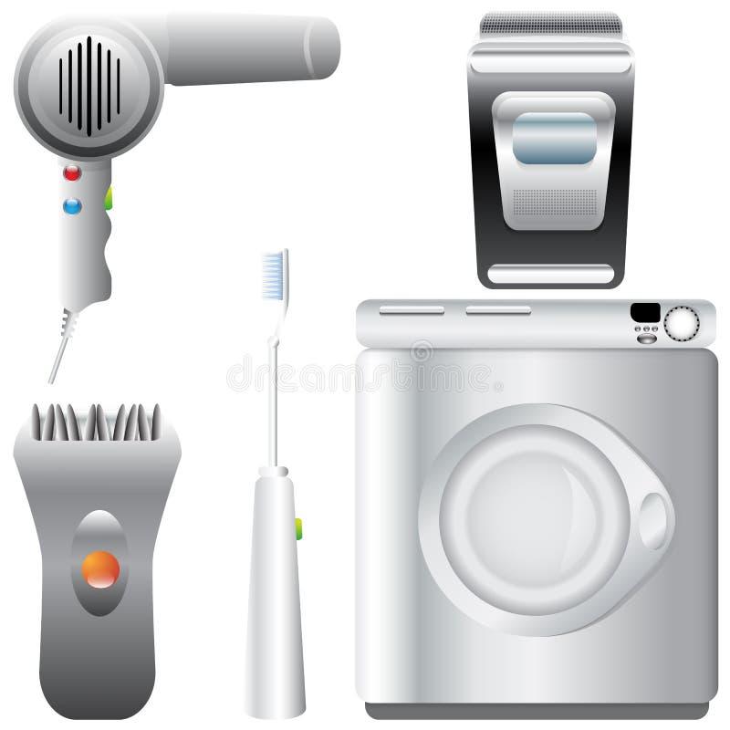 Reeks realistische, gedetailleerde badkameruitrustingen vector illustratie