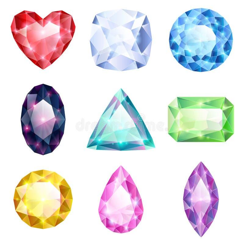 Reeks realistische gloeiende kleurrijke juwelen royalty-vrije illustratie