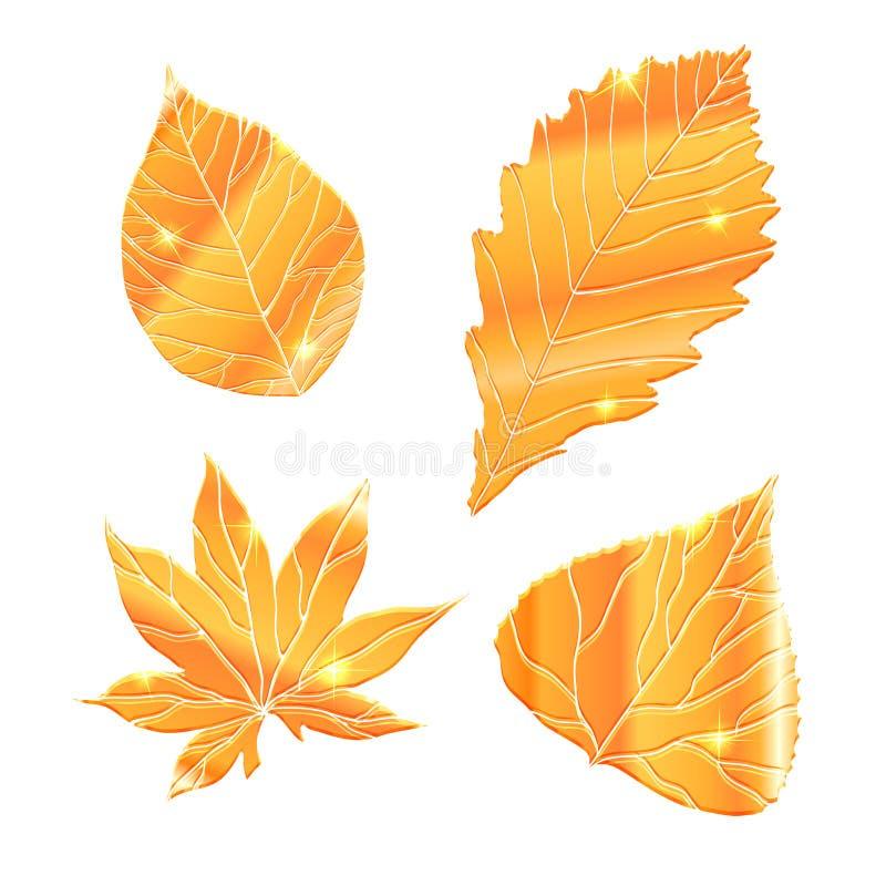 Reeks realistische gouden bladeren met fonkeling royalty-vrije illustratie