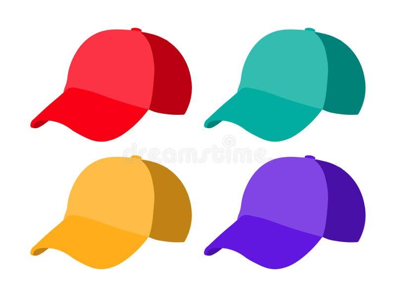 Reeks realistische honkbalglb malplaatjes Kleurrijke hoeden Vectorillustratie vector illustratie