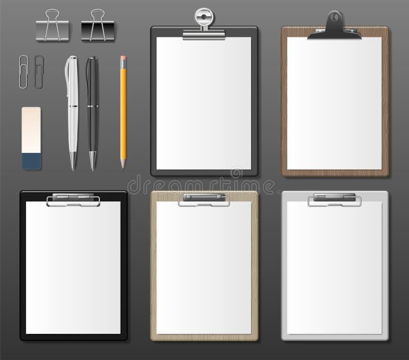 Reeks Realistische klemborden met leeg Witboekblad De raadsmalplaatje van de blocnoteinformatie voor collectieve identiteit stock illustratie