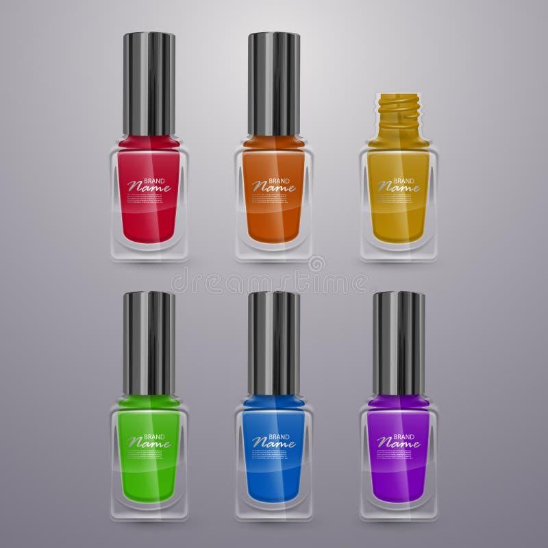 Reeks realistische nagellakken van heldere kleuren, 3d illustraties, advertenties voor ontwerpschoonheidsmiddelen en manierachter vector illustratie