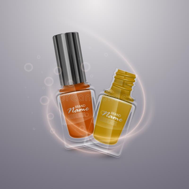 Reeks realistische nagellakken van heldere kleuren, 3d illustraties, advertenties voor ontwerpschoonheidsmiddelen en manierachter stock illustratie