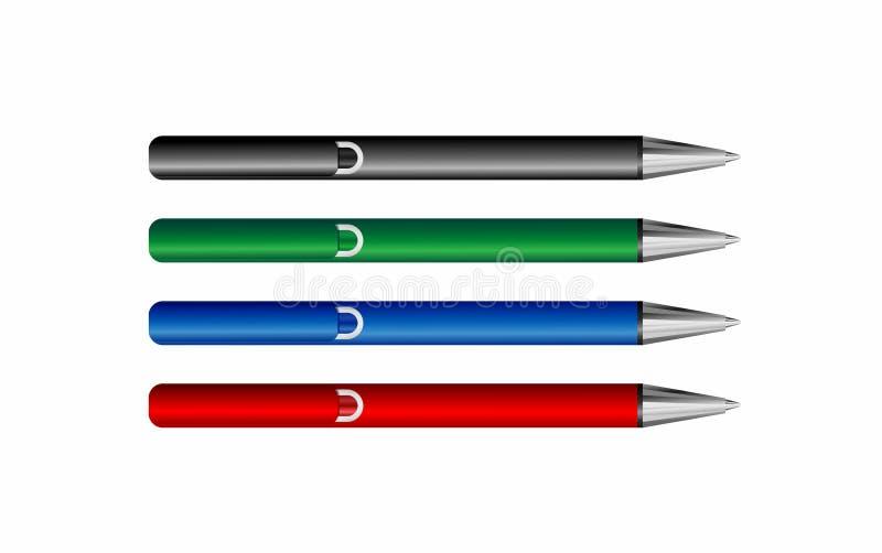 Reeks realistische pennen royalty-vrije illustratie
