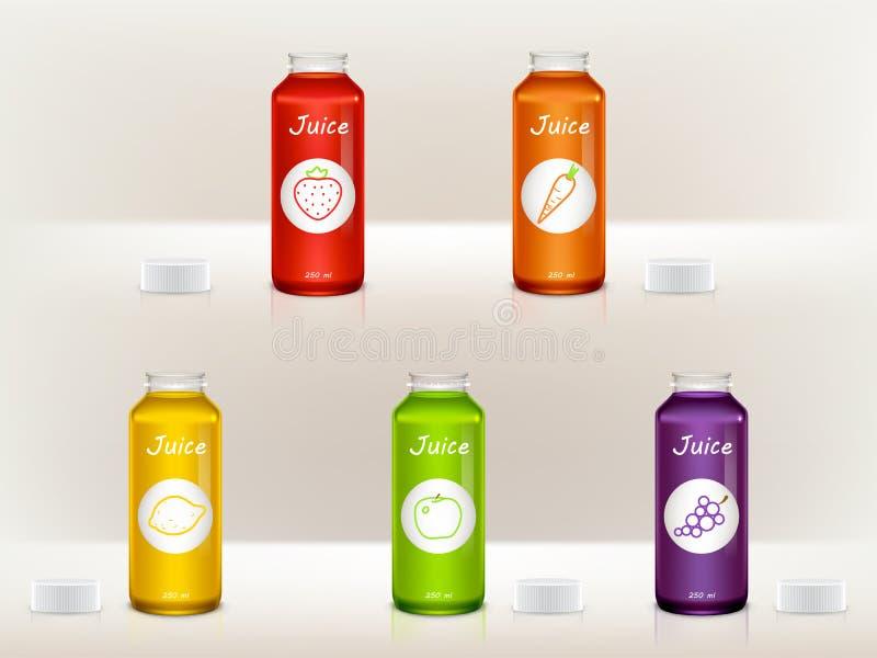 reeks realistische sapflessen, kruiken Glas, plastic transparante containers Pakketontwerp voor bevordering, Web stock illustratie