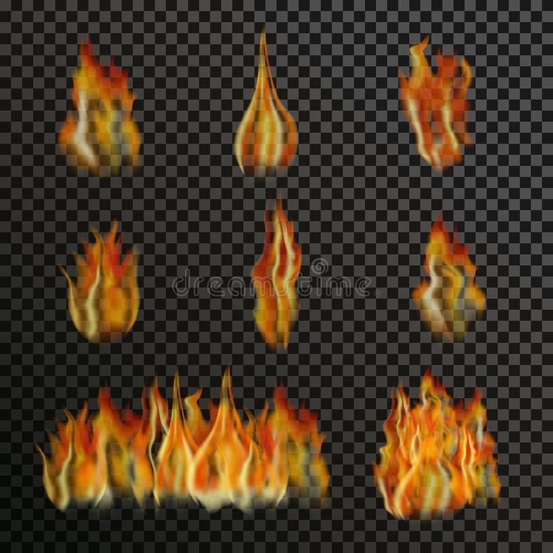 Reeks realistische transparante brandvlammen stock illustratie