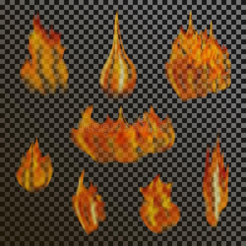 Reeks realistische transparante brandvlammen op a vector illustratie