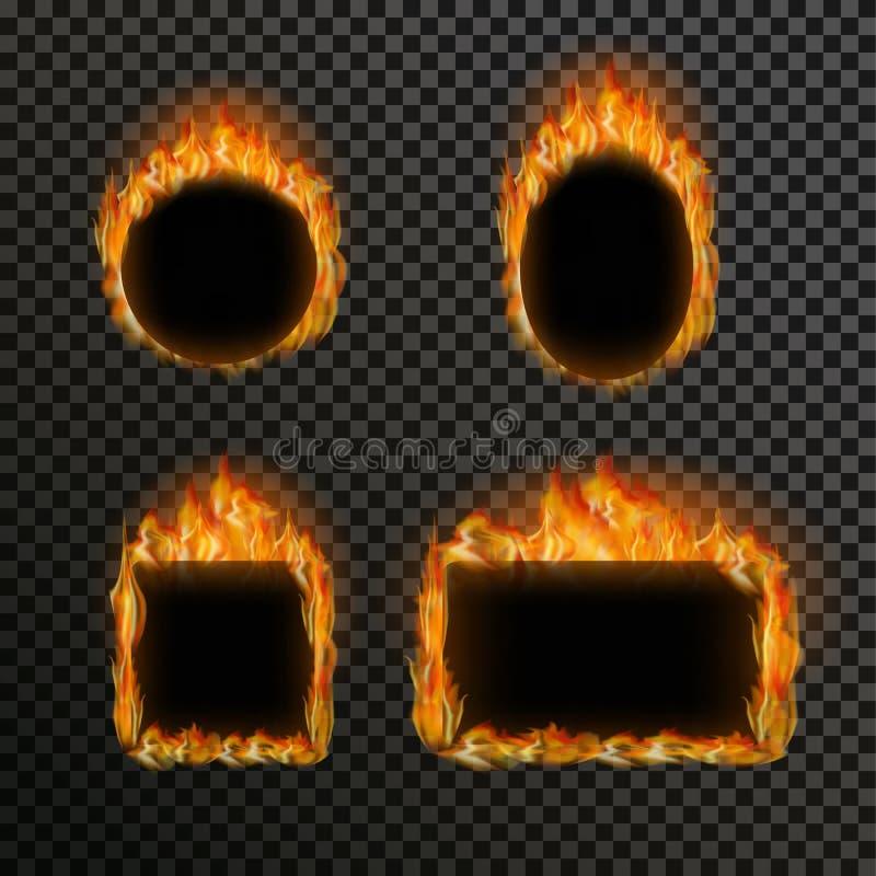 Reeks realistische transparante brandvlammen op een achtergrond van het plaid zwarte witte net vector illustratie
