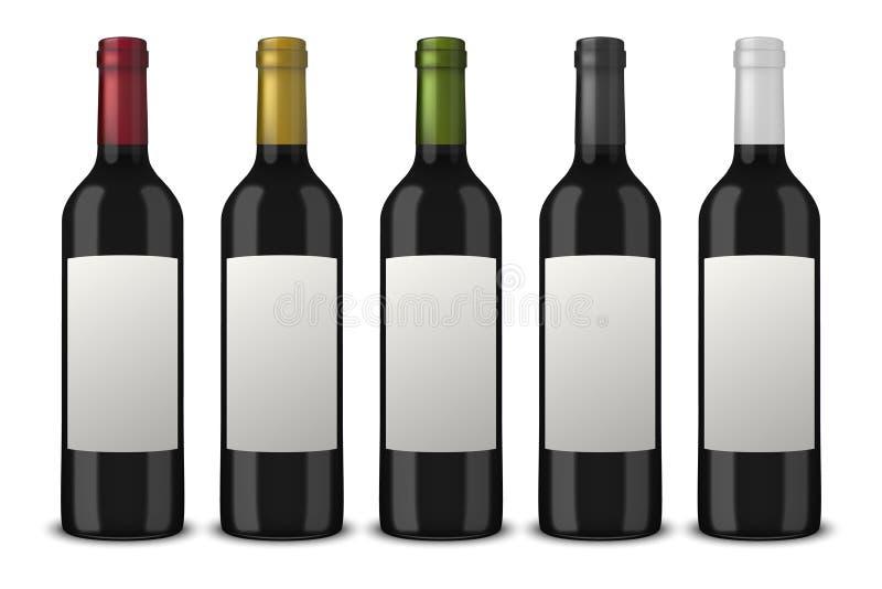 Reeks 5 realistische vector zwarte die flessen wijn zonder etiketten op witte achtergrond worden geïsoleerd Ontwerpmalplaatje in  royalty-vrije illustratie