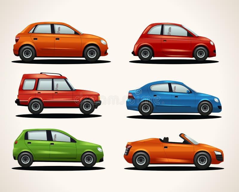 Reeks realistische voertuigen vector illustratie
