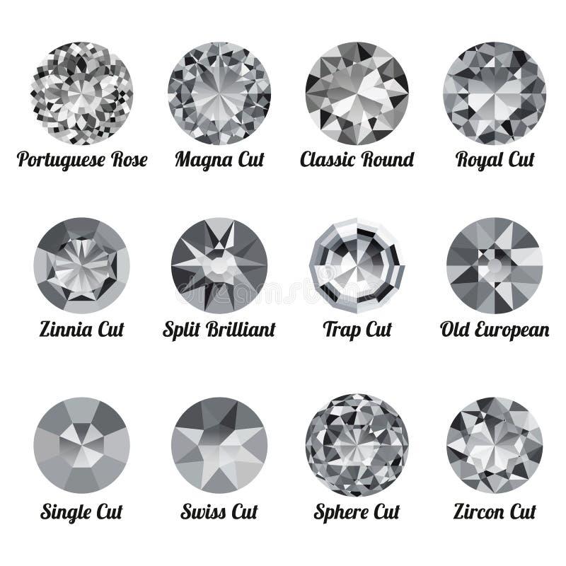 Reeks realistische witte diamanten met ronde besnoeiingen