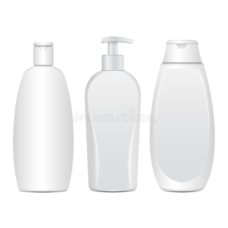 Reeks Realistische Witte Kosmetische Flessen Buis of Container voor Room, Zalf, Lotion Kosmetisch Flesje voor Shampoo vector illustratie