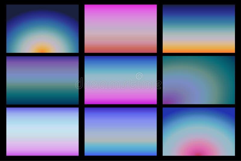 Reeks realistische zonsopgang en zonsondergangmalplaatjes van de hemelbanner, gradiënt, vectoreps10 stock illustratie
