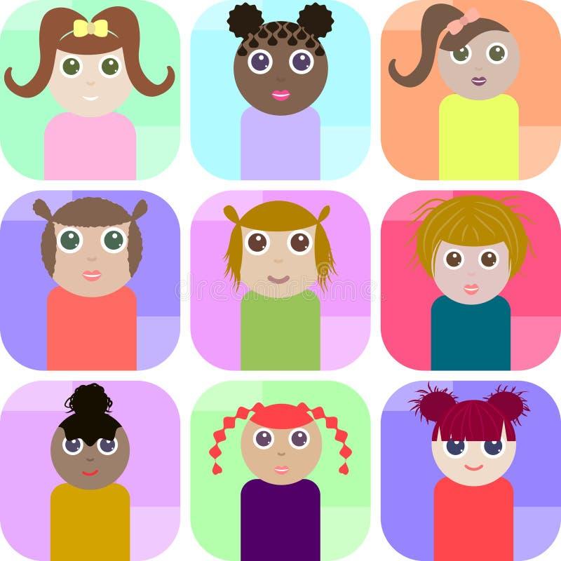 Reeks rechthoek vectorpictogrammen met leuke meisjes royalty-vrije illustratie