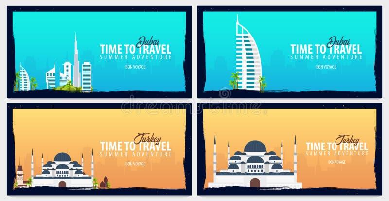 Reeks reisbanners aan Doubai en Turkije Tijd te reizen Reis, tocht en vakantie Vector vlakke illustratie vector illustratie