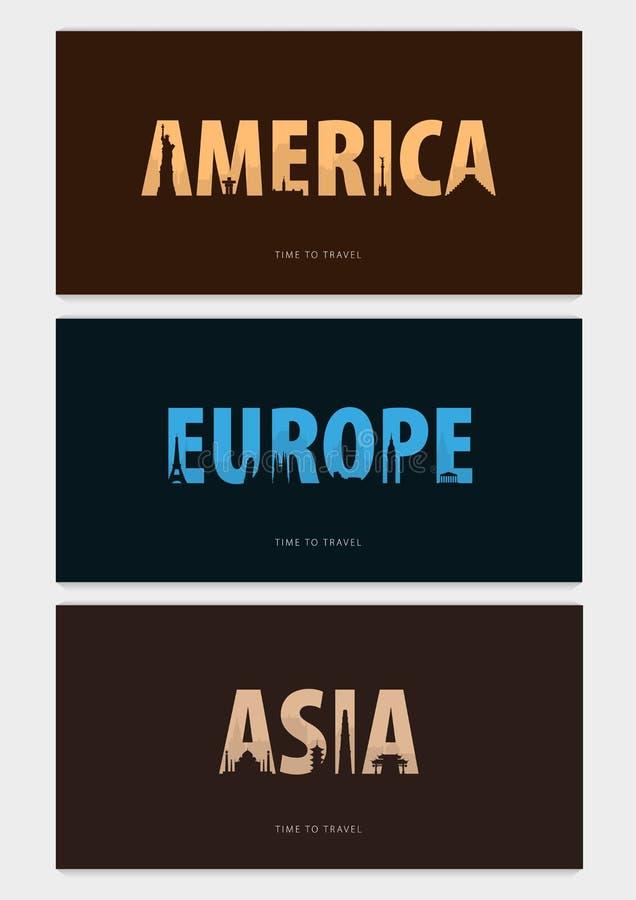 Reeks Reisbunners met silhouetten van gezichten Tijd te reizen Amerika, Azië, Europa Vector illustratie vector illustratie