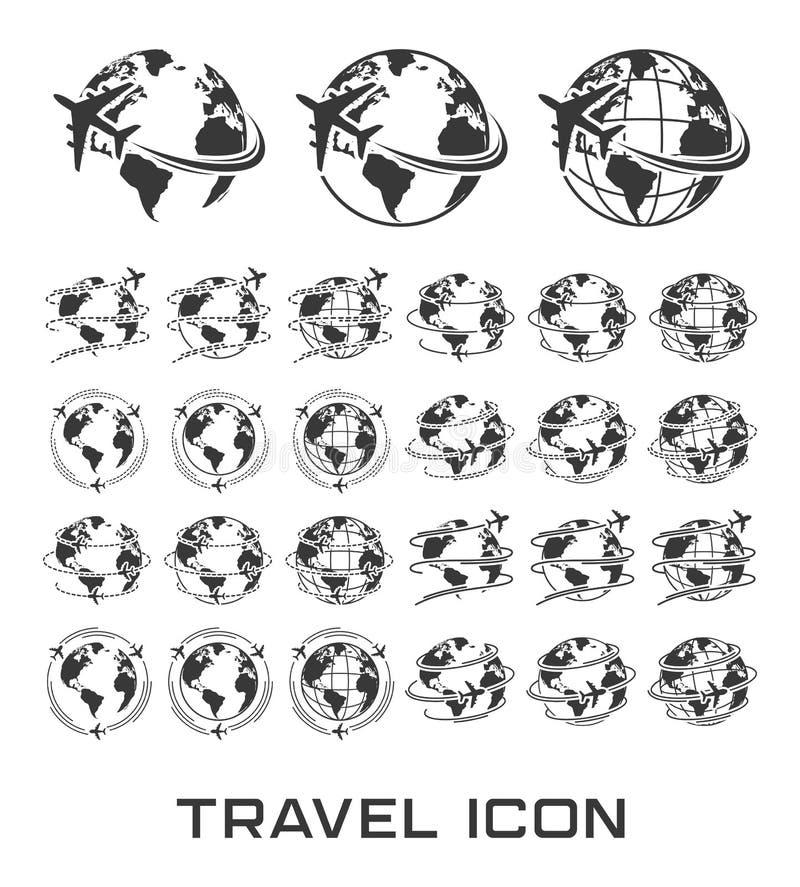 Reeks Reispictogrammen met vliegtuigvlieg rond de aarde stock illustratie