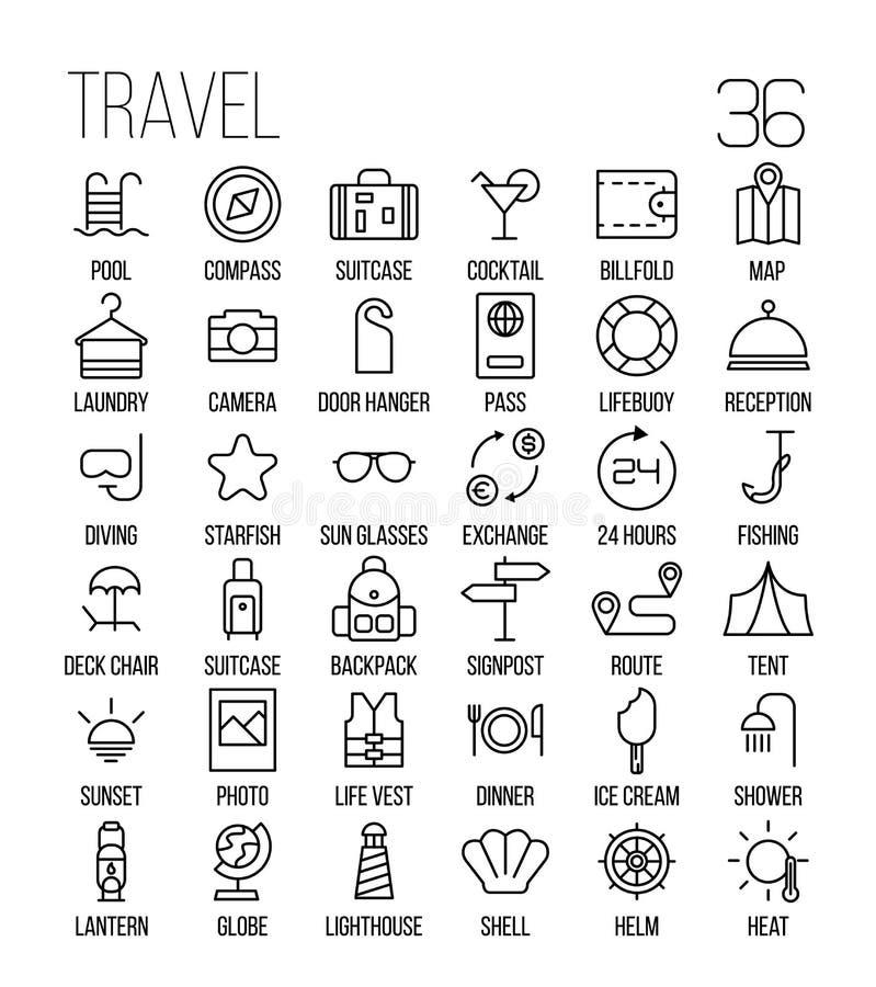 Reeks reispictogrammen in moderne dunne lijnstijl royalty-vrije illustratie