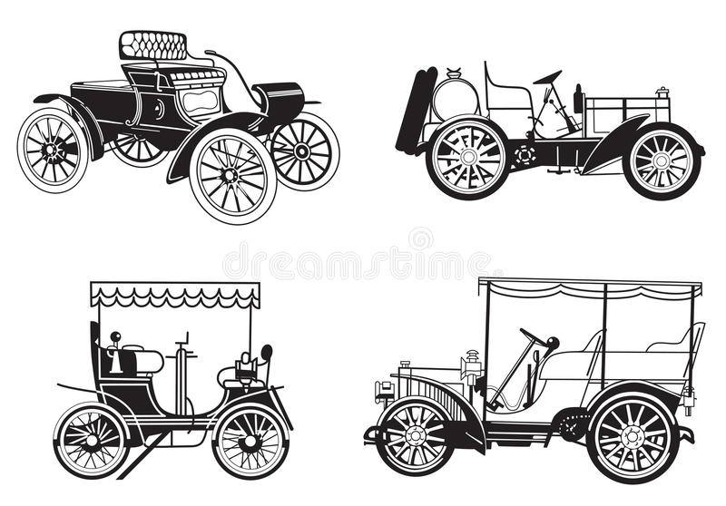 Reeks - retro auto's royalty-vrije illustratie