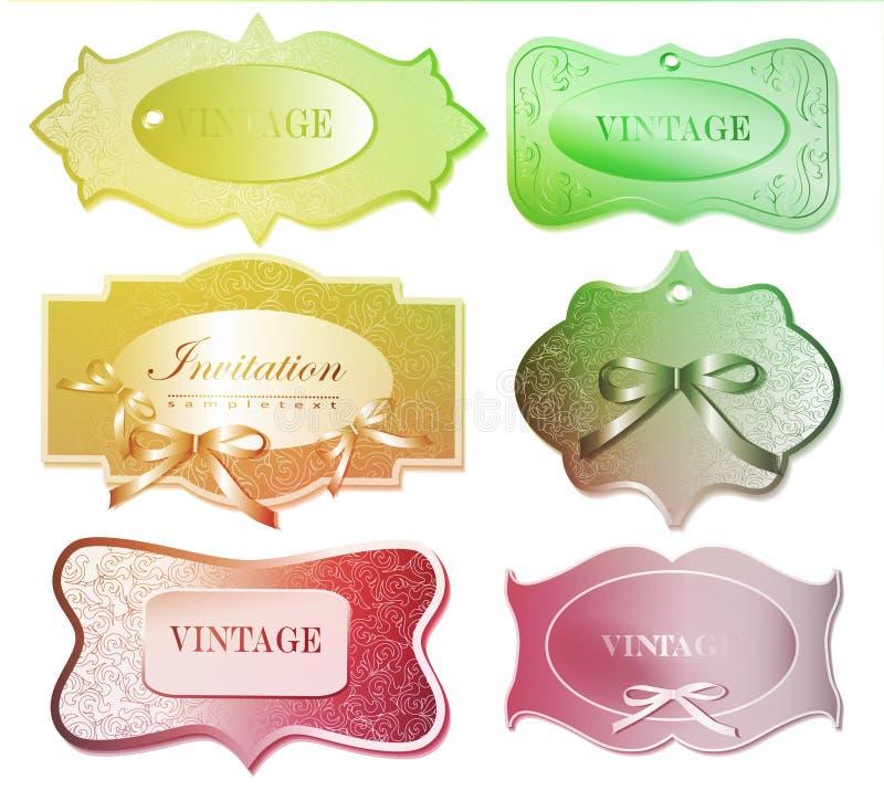 Reeks retro etiketten Vector illustratie royalty-vrije illustratie