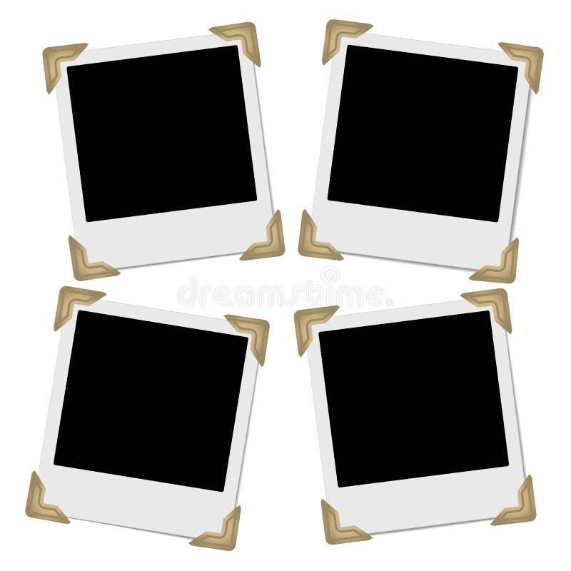 Reeks retro fotokaders met fotohoeken vector illustratie
