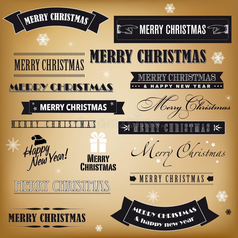 Reeks retro Kerstmistekens royalty-vrije illustratie