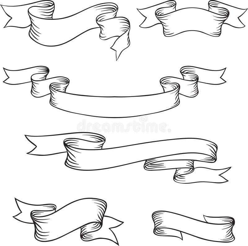Reeks retro linten en etiketten stock illustratie
