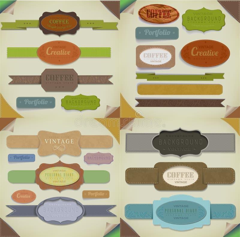 Reeks retro linten, oude vuile document texturen en uitstekende etiketten, banners en emblemen. Elementeninzameling voor ontwerp. stock illustratie