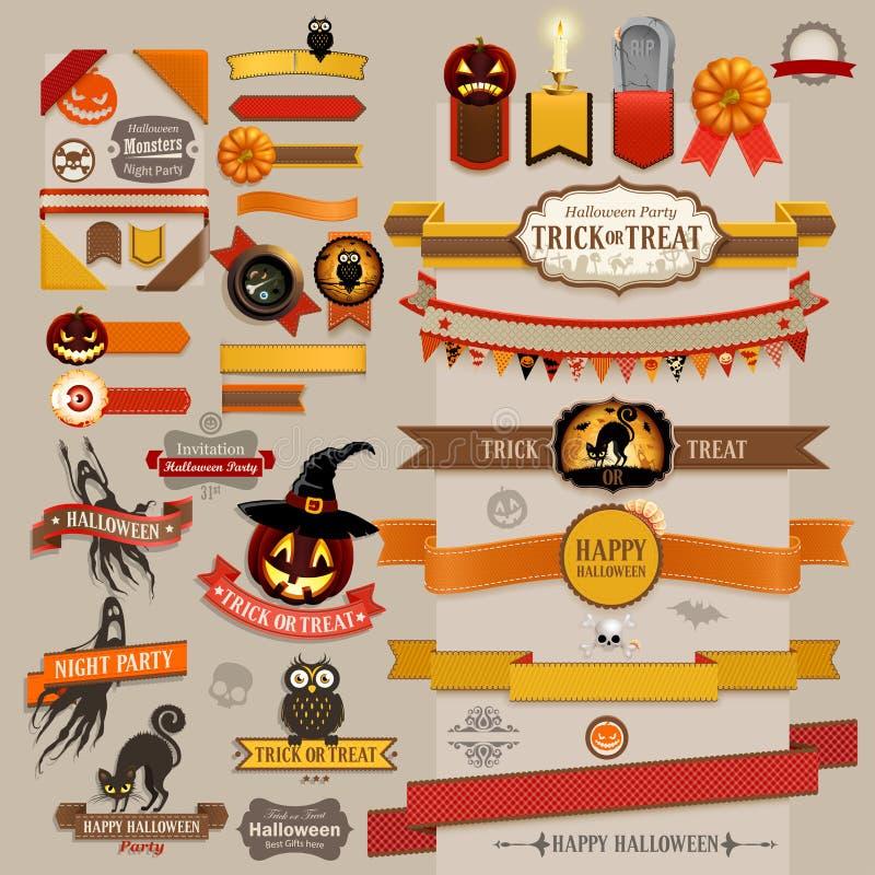 Reeks retro linten van Halloween stock illustratie