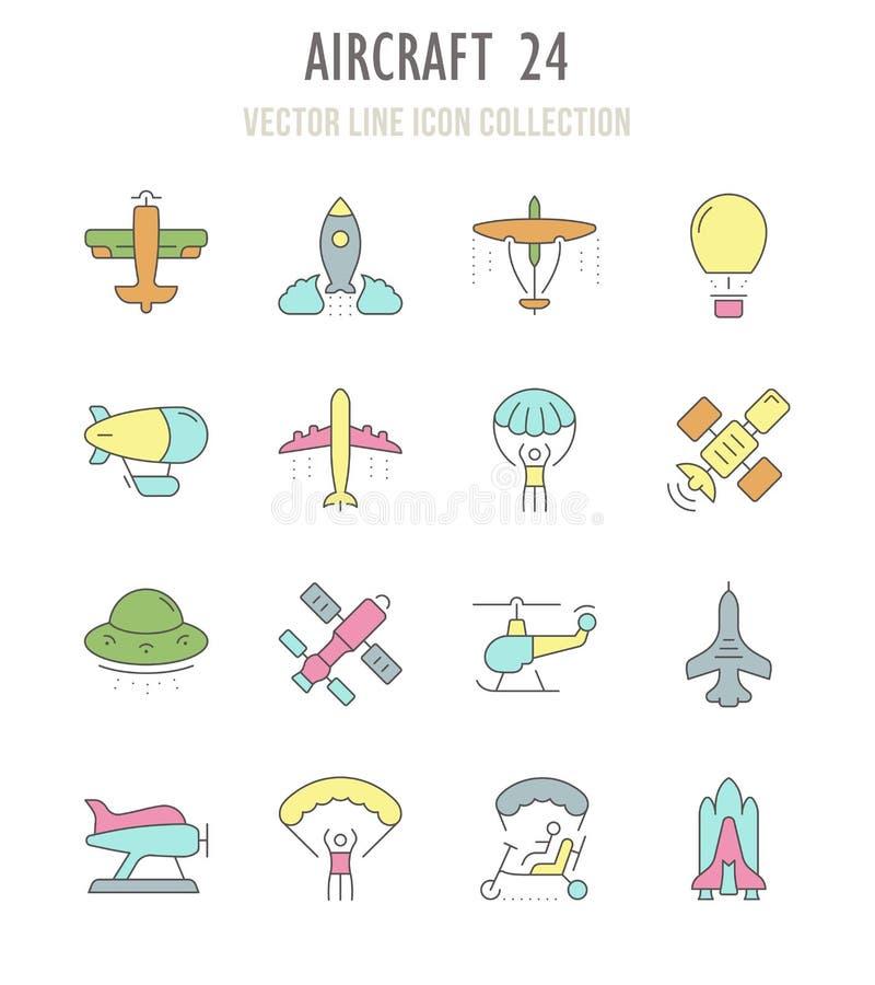Reeks Retro Pictogrammen van Vliegtuigen royalty-vrije illustratie
