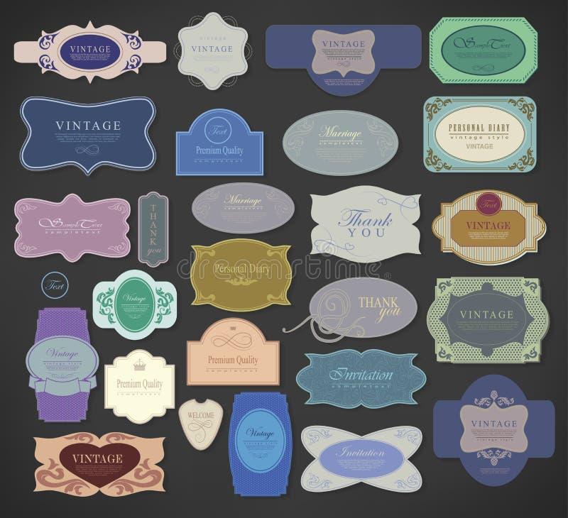 Reeks retro uitstekende etiketten. Vectorillustratie. royalty-vrije illustratie